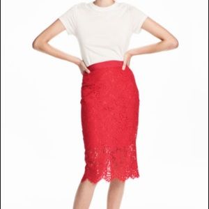 H&M Red Lace Pencil Skirt